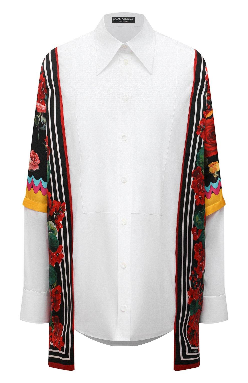 Женская рубашка из хлопка и шелка DOLCE & GABBANA разноцветного цвета, арт. F5020T/GDZ36 | Фото 1