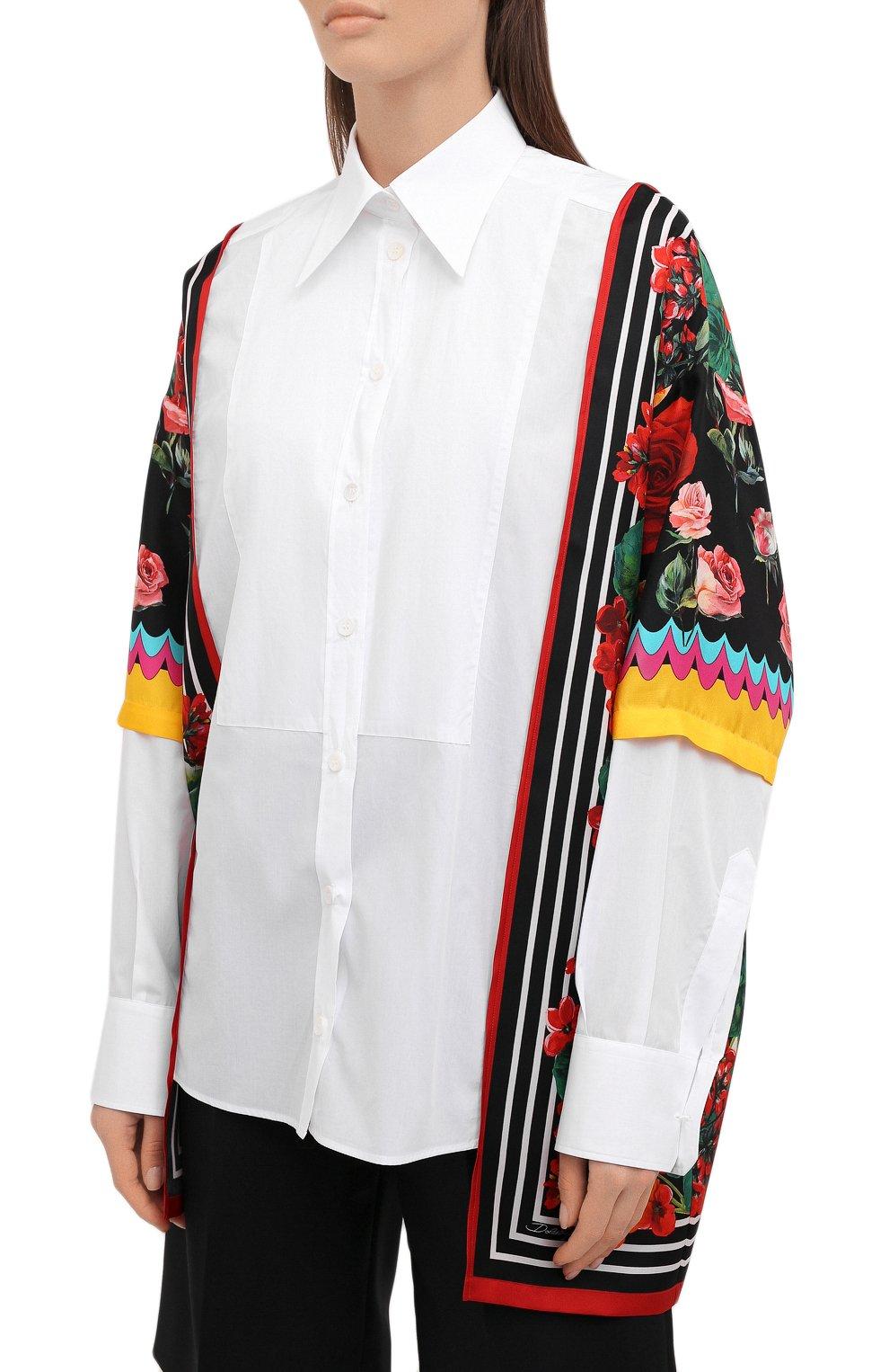 Женская рубашка из хлопка и шелка DOLCE & GABBANA разноцветного цвета, арт. F5020T/GDZ36 | Фото 3