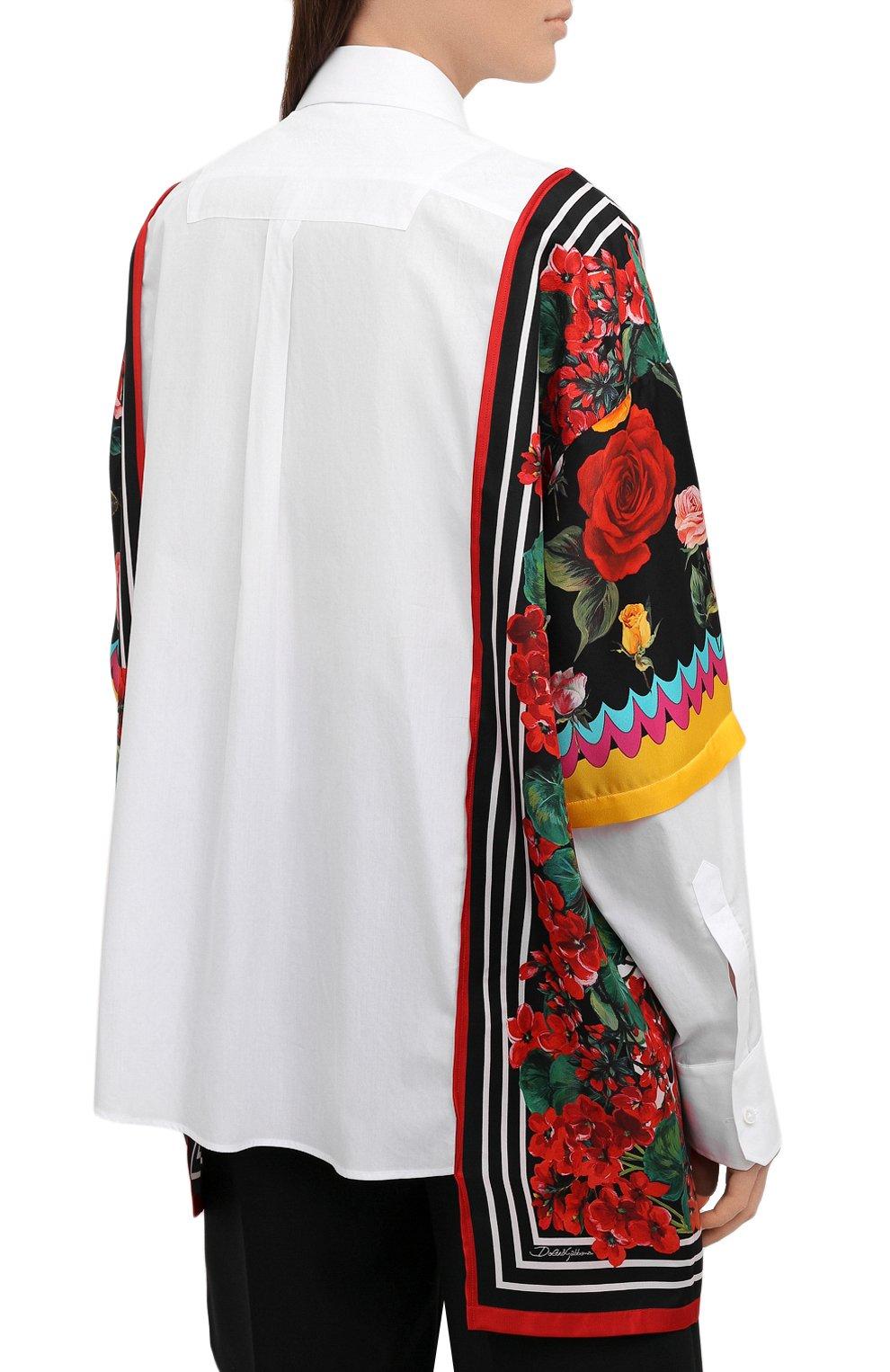 Женская рубашка из хлопка и шелка DOLCE & GABBANA разноцветного цвета, арт. F5020T/GDZ36 | Фото 4