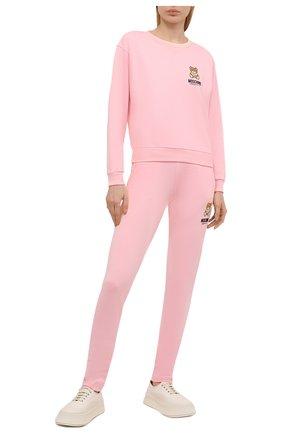 Женская хлопковый свитшот MOSCHINO UNDERWEAR WOMAN розового цвета, арт. A1713/9020 | Фото 2