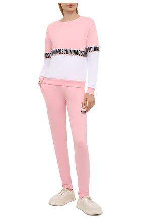 Женская хлопковый свитшот MOSCHINO UNDERWEAR WOMAN розового цвета, арт. A1716/9020 | Фото 2