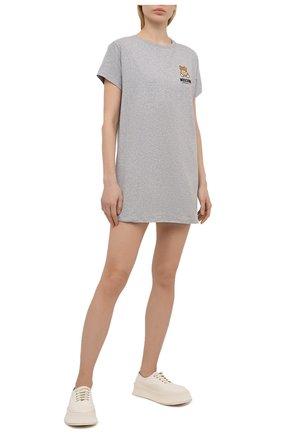 Женская хлопковая футболка MOSCHINO UNDERWEAR WOMAN серого цвета, арт. A1910/9021 | Фото 2