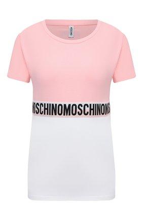 Женская хлопковая футболка MOSCHINO UNDERWEAR WOMAN розового цвета, арт. A1919/9021 | Фото 1