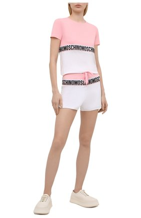 Женские хлопковые шорты MOSCHINO UNDERWEAR WOMAN розового цвета, арт. A4313/9020 | Фото 2