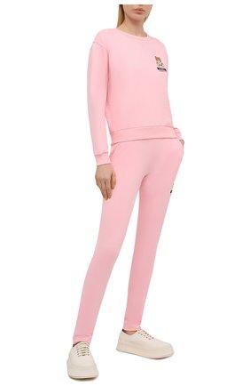 Женские хлопковые брюки MOSCHINO UNDERWEAR WOMAN розового цвета, арт. A4329/9020 | Фото 2