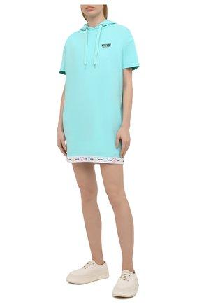 Женская хлопковое худи MOSCHINO UNDERWEAR WOMAN бирюзового цвета, арт. A1709/9004 | Фото 2