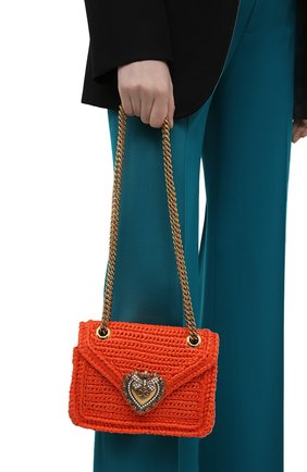 Женская сумка devotion small DOLCE & GABBANA оранжевого цвета, арт. BB6641/A0434   Фото 2