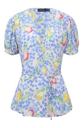 Женская блузка из вискозы POLO RALPH LAUREN голубого цвета, арт. 211838062   Фото 1 (Принт: С принтом; Рукава: Короткие; Стили: Романтичный; Материал внешний: Вискоза; Длина (для топов): Стандартные; Женское Кросс-КТ: Блуза-одежда)