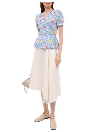 Женская блузка из вискозы POLO RALPH LAUREN голубого цвета, арт. 211838062   Фото 2 (Принт: С принтом; Рукава: Короткие; Стили: Романтичный; Материал внешний: Вискоза; Длина (для топов): Стандартные; Женское Кросс-КТ: Блуза-одежда)
