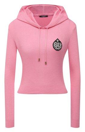 Женский пуловер с капюшоном BALMAIN розового цвета, арт. VF2JP005/KA02 | Фото 1