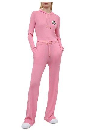 Женские брюки из кашемира и шелка BALMAIN розового цвета, арт. VF20B005/K255 | Фото 2