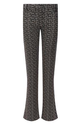 Женские шерстяные брюки BALMAIN черно-белого цвета, арт. VF0PP015/W126 | Фото 1