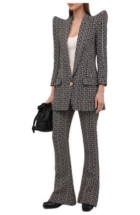Женские шерстяные брюки BALMAIN черно-белого цвета, арт. VF0PP015/W126 | Фото 2