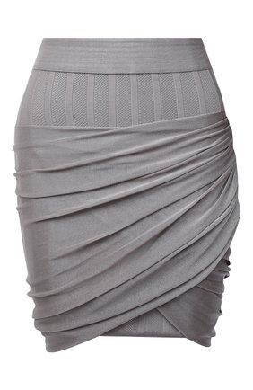 Женская юбка из вискозы BALMAIN светло-серого цвета, арт. VF0LB095/K250   Фото 1