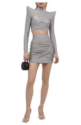 Женская юбка из вискозы BALMAIN светло-серого цвета, арт. VF0LB095/K250   Фото 2