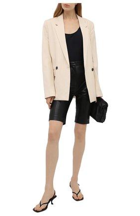 Женские кожаные шорты BALMAIN черного цвета, арт. VF0QB000/L110 | Фото 2