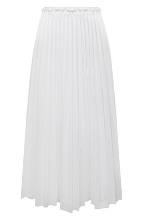 Женская плиссированная юбка REDVALENTINO белого цвета, арт. VR0RAC20/LUN   Фото 1 (Материал внешний: Хлопок, Синтетический материал; Стили: Кэжуэл; Длина Ж (юбки, платья, шорты): Миди; Женское Кросс-КТ: юбка-плиссе, Юбка-одежда)