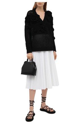 Женская плиссированная юбка REDVALENTINO белого цвета, арт. VR0RAC20/LUN   Фото 2 (Материал внешний: Хлопок, Синтетический материал; Стили: Кэжуэл; Длина Ж (юбки, платья, шорты): Миди; Женское Кросс-КТ: юбка-плиссе, Юбка-одежда)