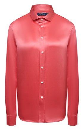 Женская шелковая рубашка POLO RALPH LAUREN розового цвета, арт. 211798122 | Фото 1