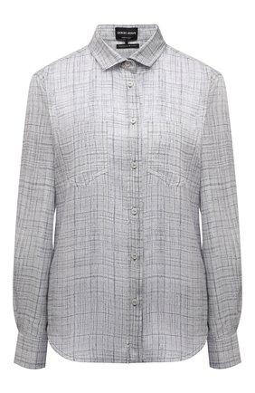 Женская шелковая рубашка GIORGIO ARMANI светло-серого цвета, арт. 1WHCC01L/T02II | Фото 1