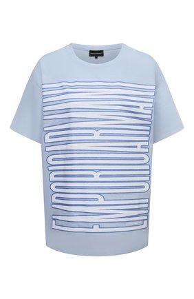 Женская хлопковая футболка EMPORIO ARMANI голубого цвета, арт. 3K2T7Q/2J95Z   Фото 1