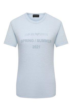 Женская футболка EMPORIO ARMANI голубого цвета, арт. 3K2T8F/2JSAZ | Фото 1