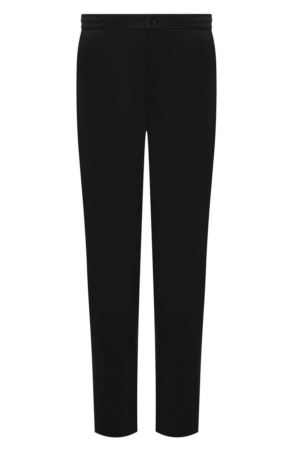 Мужские шерстяные брюки MARCO PESCAROLO черного цвета, арт. CHIAIAM/4328   Фото 1 (Big sizes: Big Sizes; Материал внешний: Шерсть; Длина (брюки, джинсы): Стандартные; Случай: Повседневный)