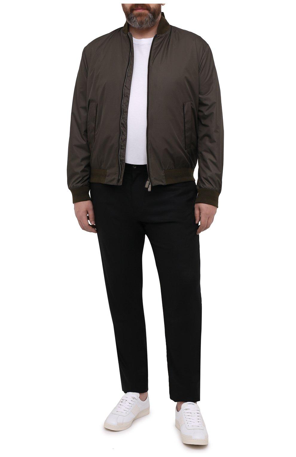 Мужские шерстяные брюки MARCO PESCAROLO черного цвета, арт. CHIAIAM/4328   Фото 2 (Big sizes: Big Sizes; Материал внешний: Шерсть; Длина (брюки, джинсы): Стандартные; Случай: Повседневный)