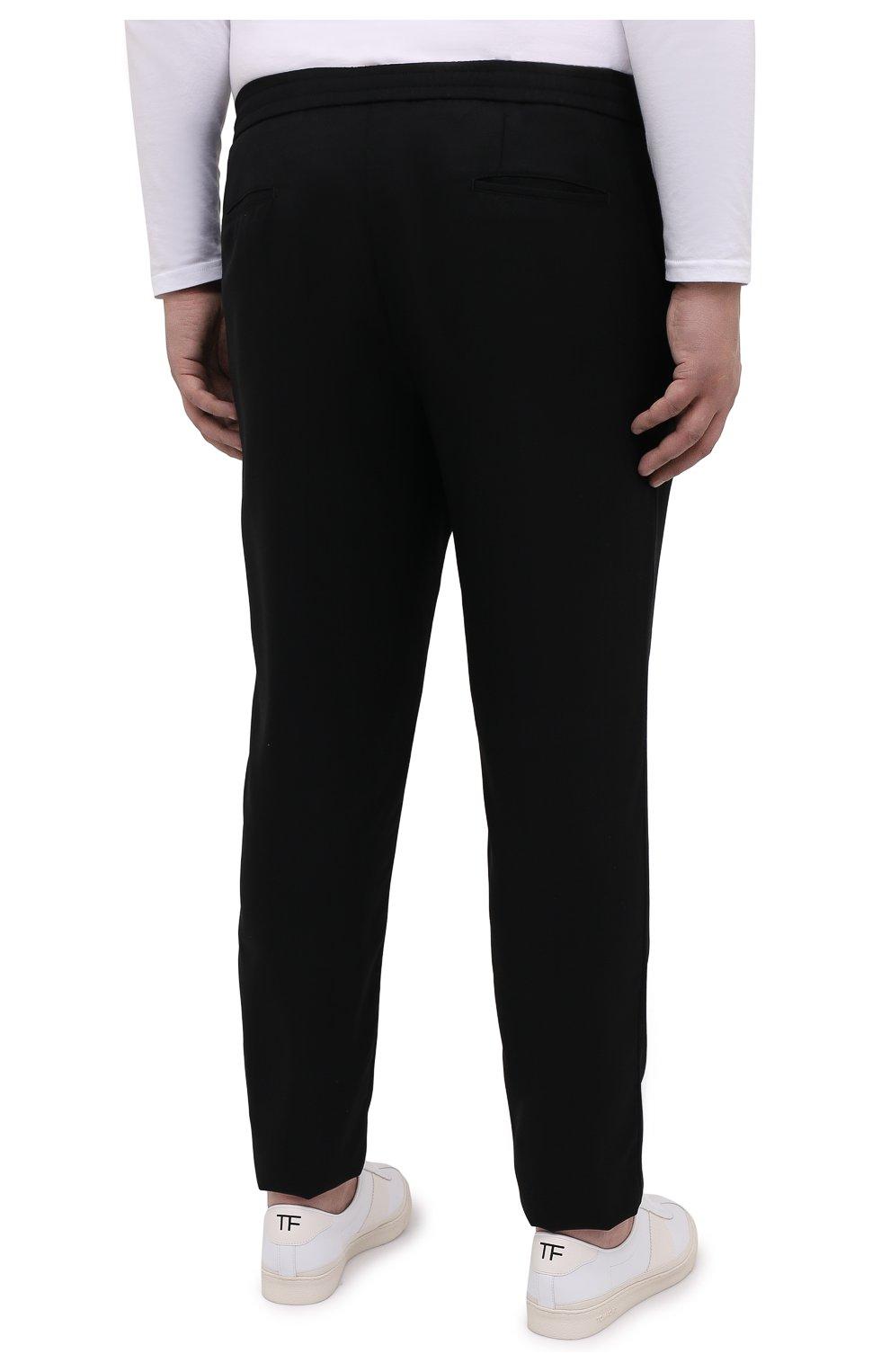 Мужские шерстяные брюки MARCO PESCAROLO черного цвета, арт. CHIAIAM/4328   Фото 4 (Big sizes: Big Sizes; Материал внешний: Шерсть; Длина (брюки, джинсы): Стандартные; Случай: Повседневный)