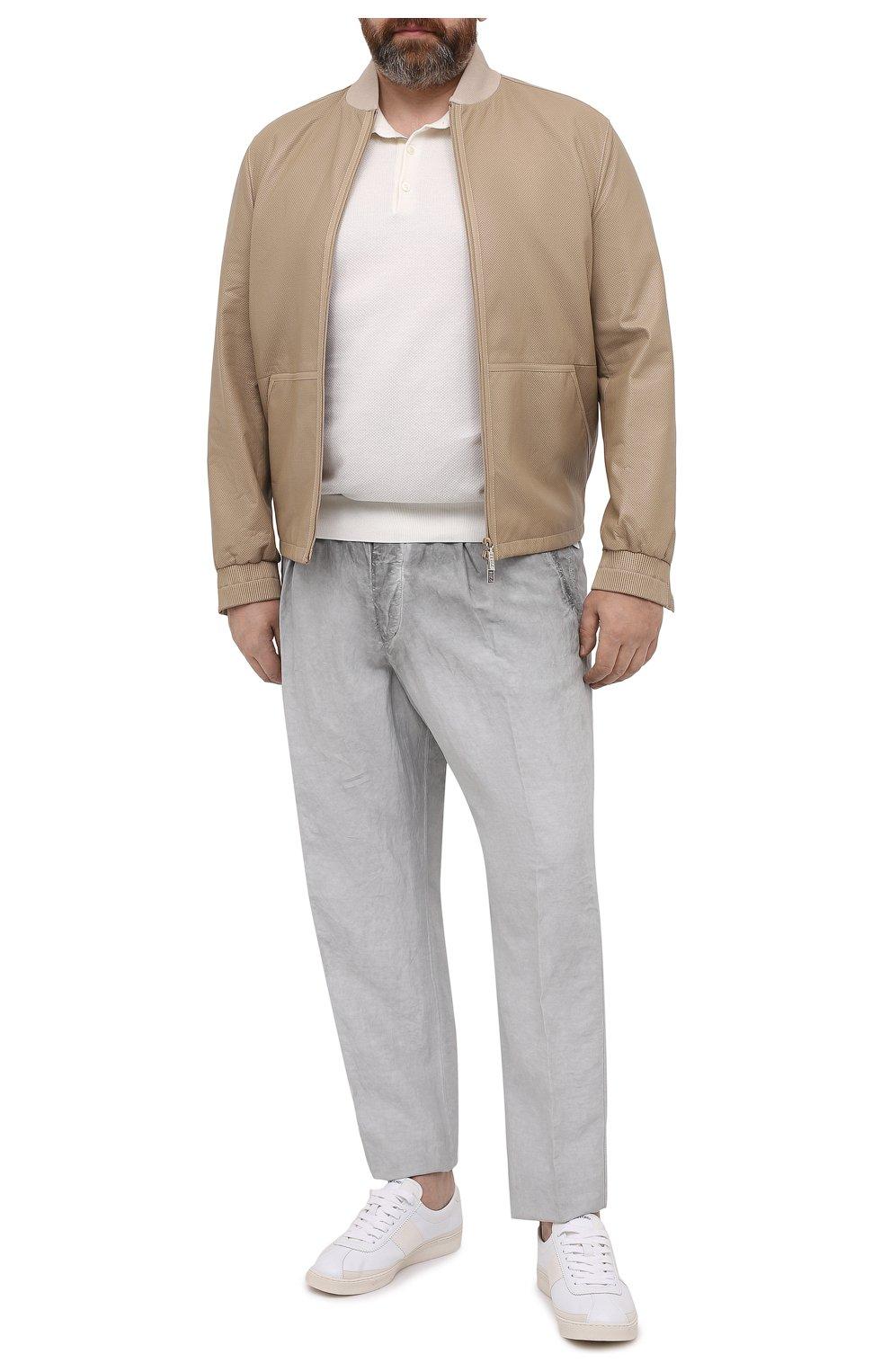 Мужские брюки из вискозы и льна GIORGIO ARMANI серого цвета, арт. 1SGPP0HJ/T02IE | Фото 2
