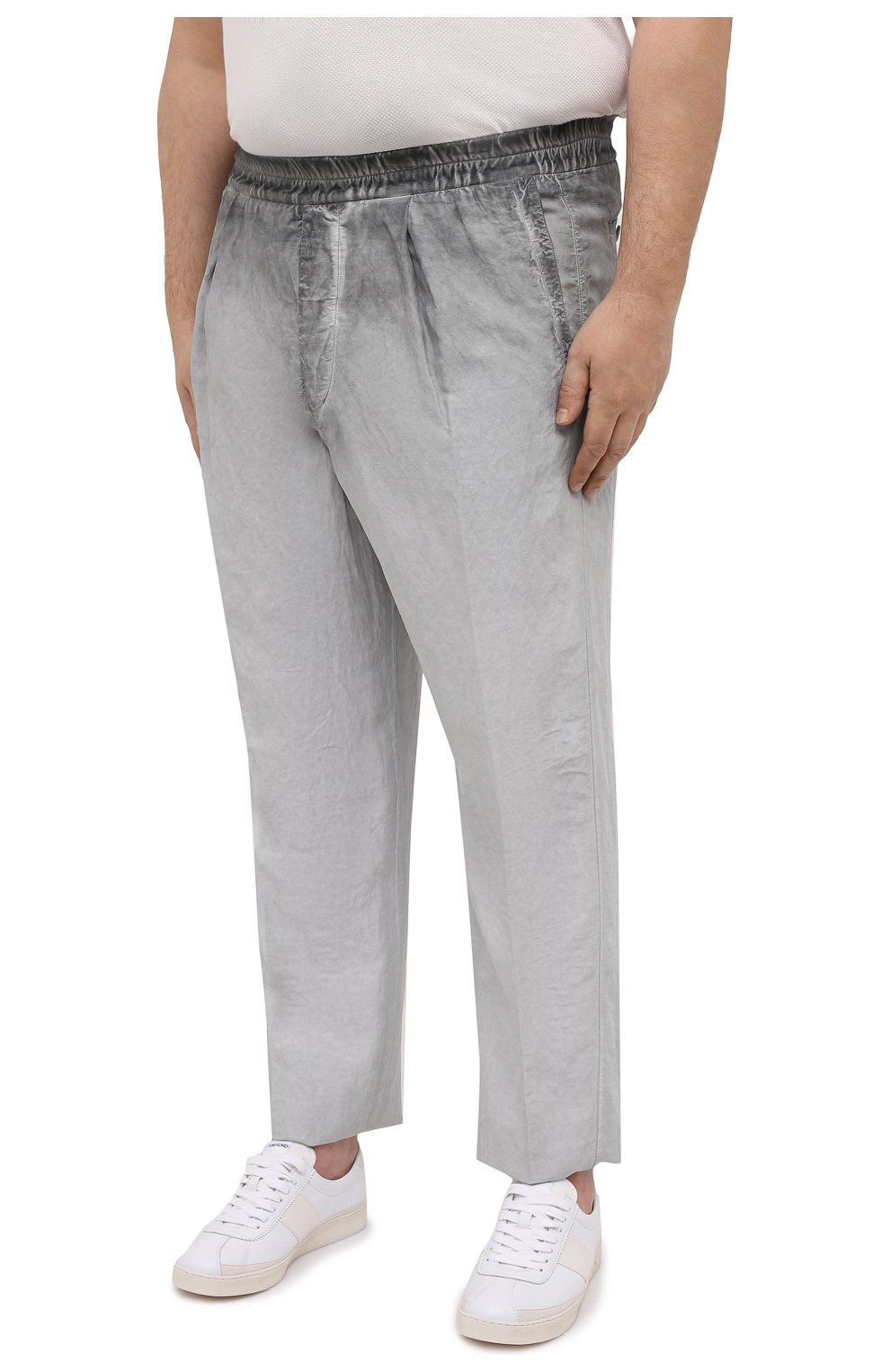 Мужские брюки из вискозы и льна GIORGIO ARMANI серого цвета, арт. 1SGPP0HJ/T02IE | Фото 3
