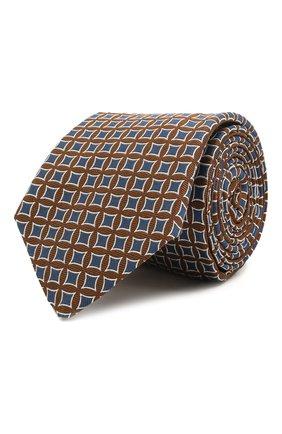 Мужской шелковый галстук LUIGI BORRELLI коричневого цвета, арт. LC80/T31030 | Фото 1 (Материал: Текстиль, Шелк; Принт: С принтом)
