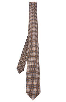 Мужской шелковый галстук LUIGI BORRELLI коричневого цвета, арт. LC80/T31030 | Фото 2 (Материал: Текстиль, Шелк; Принт: С принтом)