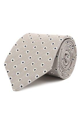 Мужской галстук из шелка и льна LUIGI BORRELLI серого цвета, арт. LC80/T31205 | Фото 1