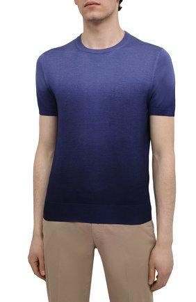 Мужской джемпер из шерсти и шелка CANALI темно-синего цвета, арт. C0719/MX01166 | Фото 3