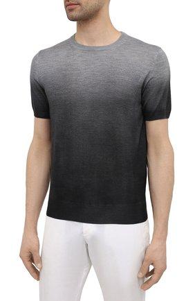 Мужской джемпер из шерсти и шелка CANALI серого цвета, арт. C0719/MX01166   Фото 3