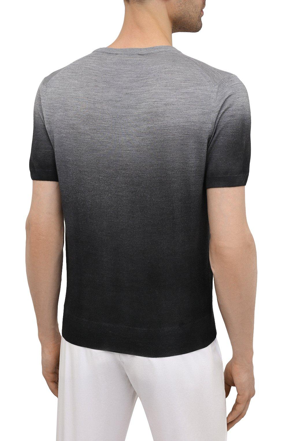 Мужской джемпер из шерсти и шелка CANALI серого цвета, арт. C0719/MX01166   Фото 4