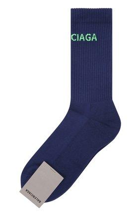 Мужские хлопковые носки BALENCIAGA синего цвета, арт. 540633/472B4 | Фото 1 (Материал внешний: Хлопок; Кросс-КТ: бельё)