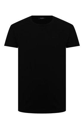 Мужская хлопковая футболка BALMAIN черного цвета, арт. VH0EF008/B078   Фото 1 (Рукава: Короткие; Принт: Без принта; Длина (для топов): Стандартные; Материал внешний: Хлопок)