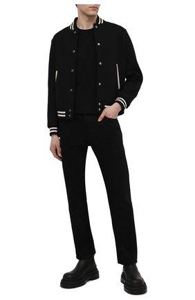 Мужская хлопковая футболка BALMAIN черного цвета, арт. VH0EF008/B078   Фото 2 (Рукава: Короткие; Принт: Без принта; Длина (для топов): Стандартные; Материал внешний: Хлопок)