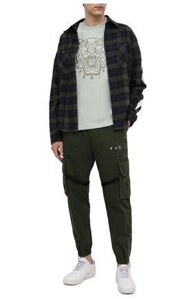 Мужская хлопковая футболка KENZO светло-зеленого цвета, арт. FB55TS0654SL | Фото 2