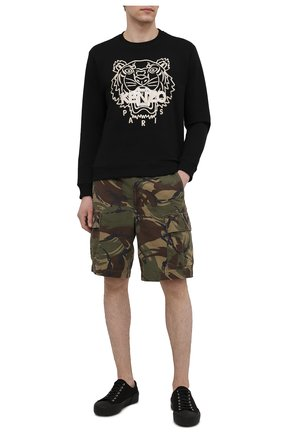 Мужской хлопковый свитшот KENZO черного цвета, арт. FB55SW1204MP | Фото 2 (Мужское Кросс-КТ: свитшот-одежда; Материал внешний: Хлопок; Принт: С принтом; Длина (для топов): Стандартные; Стили: Спорт-шик; Рукава: Длинные)