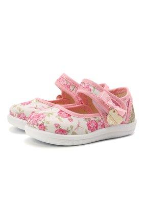 Детские текстильные туфли MONNALISA розового цвета, арт. 837001 | Фото 1 (Материал внешний: Текстиль)