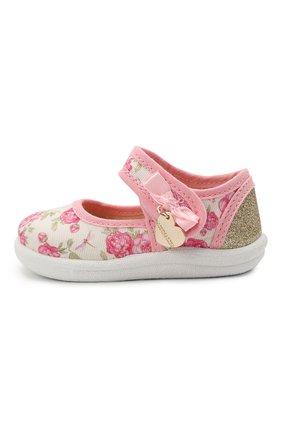 Детские текстильные туфли MONNALISA розового цвета, арт. 837001 | Фото 2 (Материал внешний: Текстиль)
