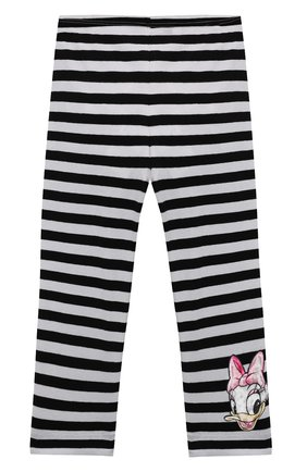 Детские хлопковые леггинсы MONNALISA черно-белого цвета, арт. 117417A9 | Фото 1