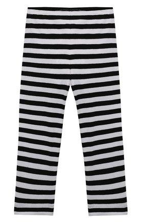 Детские хлопковые леггинсы MONNALISA черно-белого цвета, арт. 117417A9 | Фото 2