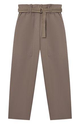 Детские хлопковые брюки BRUNELLO CUCINELLI коричневого цвета, арт. B0F48P019C | Фото 1 (Девочки Кросс-КТ: Брюки-одежда; Материал внешний: Хлопок; Ростовка одежда: 12 лет | 152 см, 13 - 15 лет | 158 см)