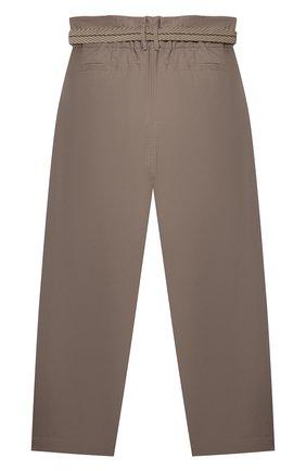 Детские хлопковые брюки BRUNELLO CUCINELLI коричневого цвета, арт. B0F48P019C | Фото 2 (Девочки Кросс-КТ: Брюки-одежда; Материал внешний: Хлопок; Ростовка одежда: 12 лет | 152 см, 13 - 15 лет | 158 см)