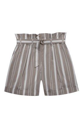 Детские хлопковые шорты BRUNELLO CUCINELLI серого цвета, арт. BF788P032B   Фото 1 (Материал внешний: Хлопок; Девочки Кросс-КТ: Шорты-одежда; Ростовка одежда: 10 - 11 лет   140 - 146см, 8 лет   128 см)