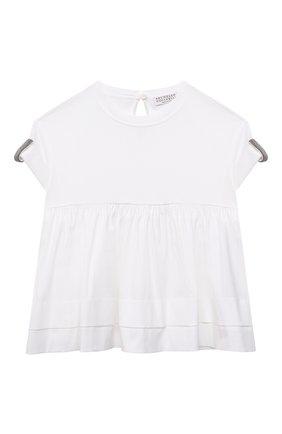 Детский хлопковый топ BRUNELLO CUCINELLI белого цвета, арт. B0A45T035A | Фото 1 (Материал внешний: Хлопок; Рукава: Короткие; Девочки Кросс-КТ: топ-одежда; Ростовка одежда: 4 года | 104 см, 6 лет | 116 см)